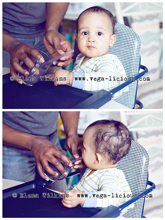 baby drinking fruit smoothie